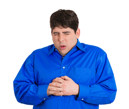 Man with heartburn indigestion