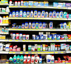 Shelf of heartburn and digestion medications