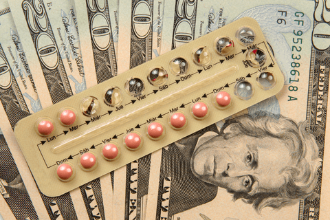 Birth control money concept