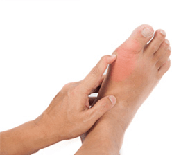 What causes gout in the foot
